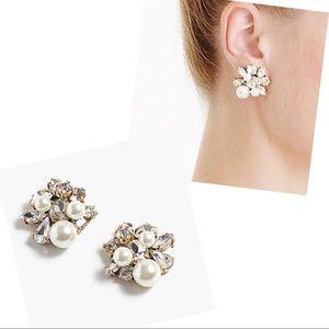 NWT J. Crew Pearl & Crystal Earrings